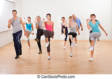 exercícios, grupo, aeróbica, pessoas