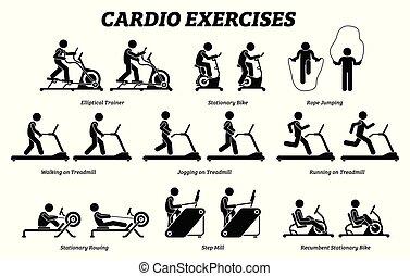 exercícios, gym., treinamento, cardio, condicão física