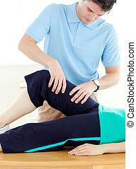 exercícios, homem, paciente, jovem, condicão física