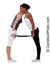 exercícios, junto, mulheres