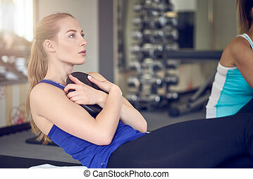 exercícios, músculo,  abdominal, mulheres