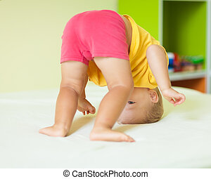 exercícios, menino, toddler