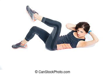 exercícios, mulher,  abdominal, condicão física