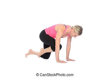 exercícios, mulher, executar, músculo abdominal