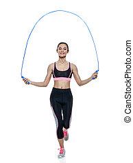 exercícios, mulher, isolado, condicão física
