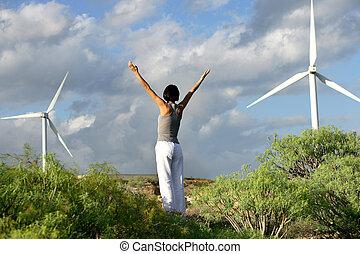 exercícios, mulher, jovem, ao ar livre