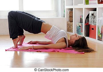exercícios, mulher, jovem, ginástico