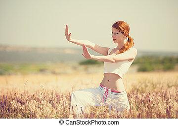 exercícios, mulher, manhã, esportes