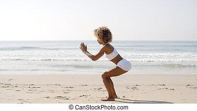 exercícios, mulher, squat