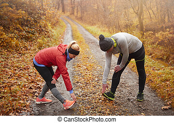 exercícios, par, sênior, natureza