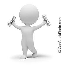 exercícios, pequeno, dumbbells, 3d, pessoas