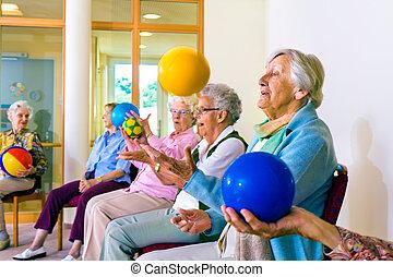 exercícios, sênior, senhoras, coordenação