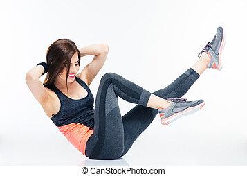exercícios, sorrindo, mulher,  abdominal, condicão física