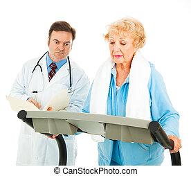 exercerande, på, läkar maning