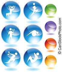 exercice, cristal, icône, ensemble