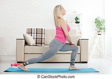 exercice, elle, 50s, femme, deux âges, étirage