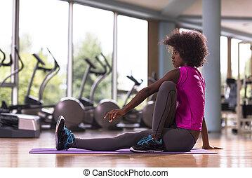 exercice, gymnase, américain, yoga, africaine