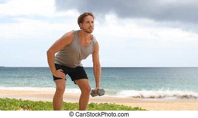 exercice, haltère, une, debout, rang, bras, -, fitness, ...
