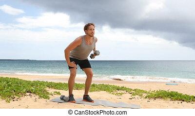 exercice, haltère, une, debout, rang, bras, homme, fitness...