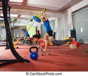 exercice, homme, poussée, poids, crossfit, femme, levage, augmente