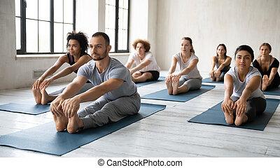 exercice, instructeur, en avant!, gens, divers, assis, pratiquer, yoga, coude