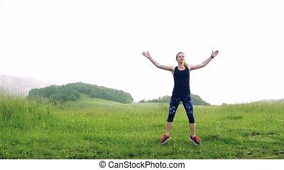 exercice, jeune, nature., pré, femme, dehors