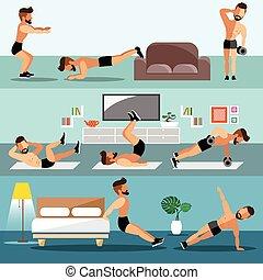 exercice, maison, jeunes hommes