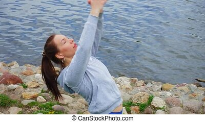 exercice, respiration, étirage, femme, sportif, pratiques