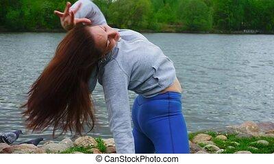 exercice respiration, étirage, femme, sportif, pratiques