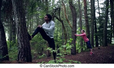 exercice, stretching., bois, nature, jeune, dehors, couple