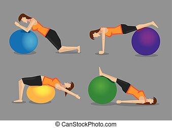 exercice, vecteur, programme, boule aptitude, illustration