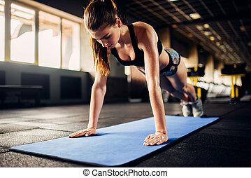 exercices, athlète, gymnase, pompe, femme