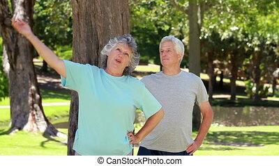 exercices, couple, mûrir, fitness
