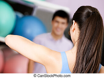 exercices, entraîneur, groupe, spectacles, gens