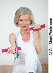 exercices, femme aînée, fitness