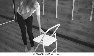 exercices, femme allonger