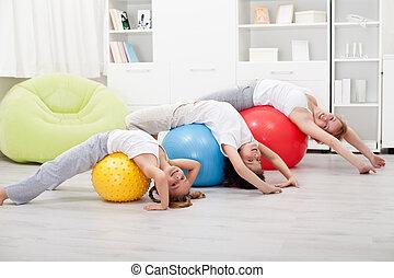 exercices, femme, gosses, étirage