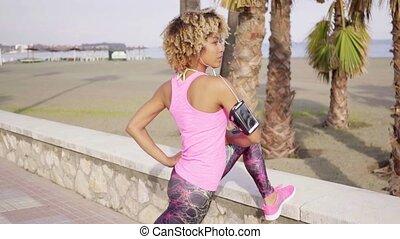 exercices, femme, jeune, crise, étirage
