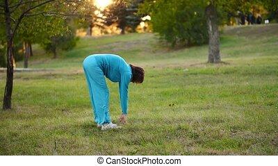 exercices, femme, parc