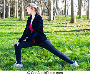 exercices, femme, parc, joli