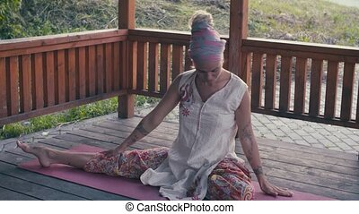 exercices, femme, yoga, séduisant