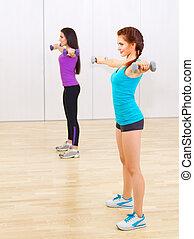 exercices, filles, deux, gymnastique, jeune