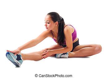 exercices, girl, sportif, gymnastique, jeune