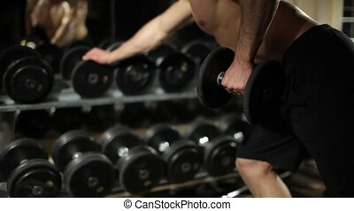exercices, gym., dumbbells., type