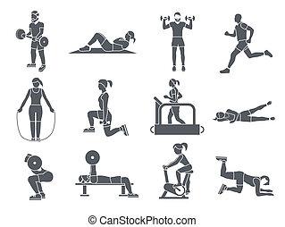 exercices, gymnase, sport, icônes