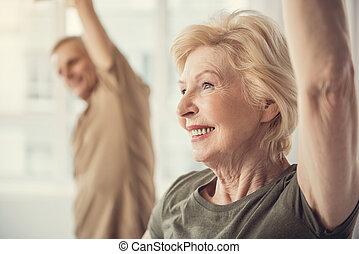 exercices, heureux, retraités, physique