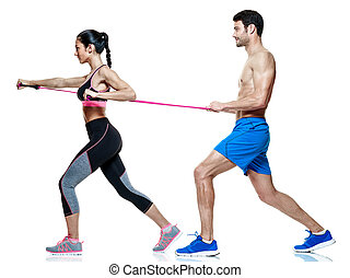 exercices, isolé, fitness, couple, femme homme
