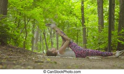 exercices, parc, femme, yoga, jeune