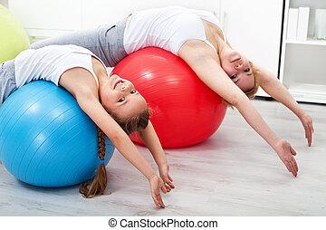 exercices, peu, fille femme, étirage