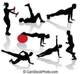 exercices, silhouettes, gens